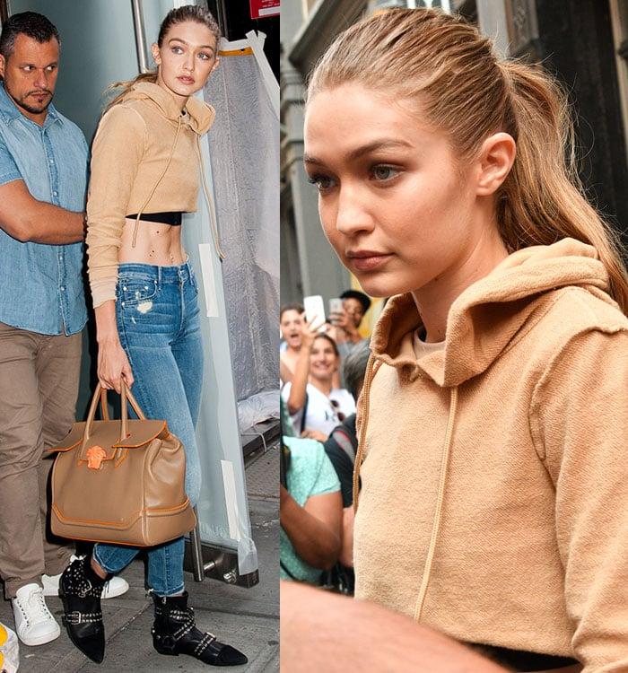 Gigi-Hadid-Danielle-Guizio-camel-crop-hoodie-jeans-boots
