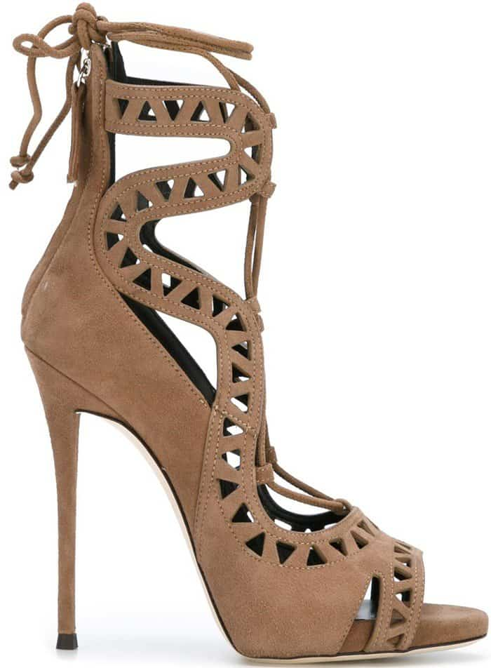 Giuseppe Zanotti Design 'Tattoo 16' Sandals in Taupe Leather and Suede