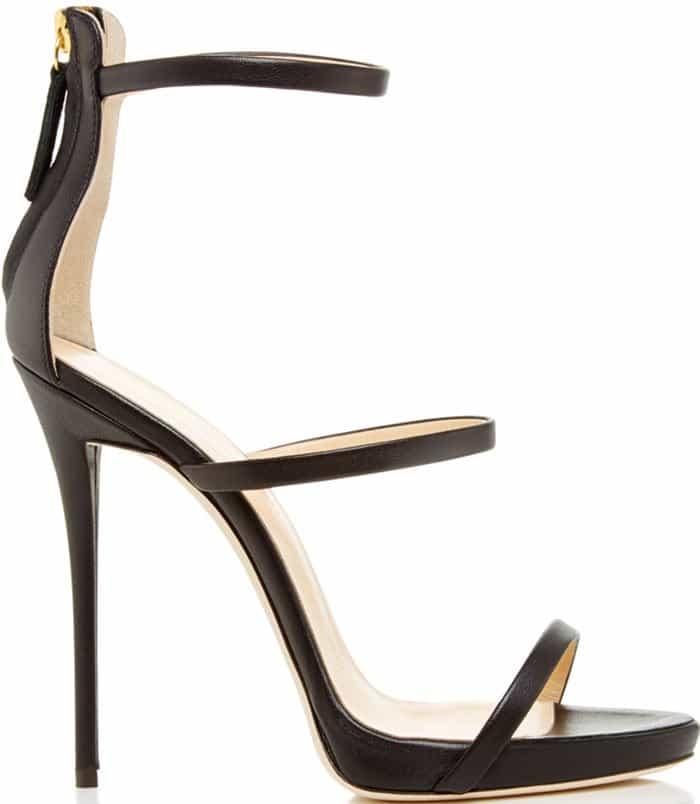 Giuseppe Zanotti Coline Black Three-Strap Sandals