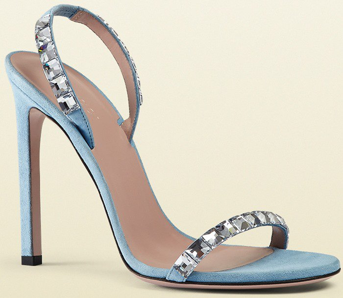 Gucci Mallory Crystal Embellished Suede Sandals in Blue