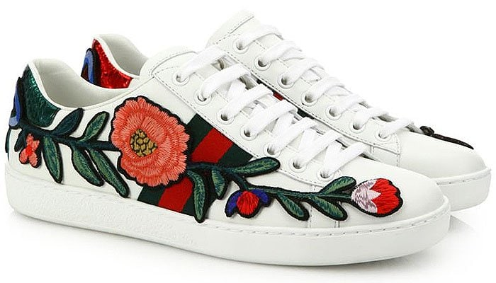 Gucci New Ace floral embroidered sneakers