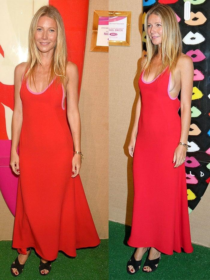 Gwyneth Paltrow sideboob Prada dress