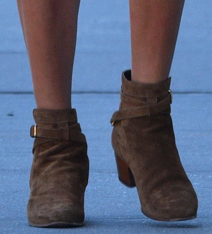 Hailey-Baldwin-Saint-Laurent-Blake-Suede-Ankle-Wrap-Booties