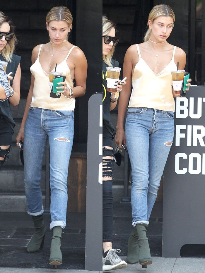 Hailey Baldwin grabbing an iced drink in Beverly Hills, California, on July 29, 2016