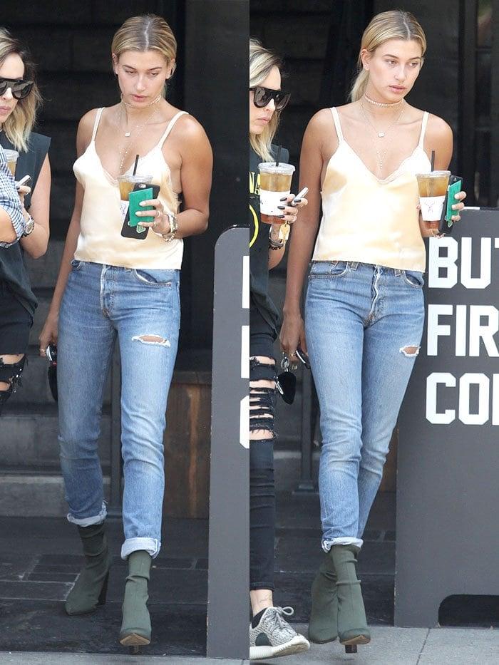 Hailey Baldwin grabbing an iced drink in Beverly Hills, California, on July 29, 2016