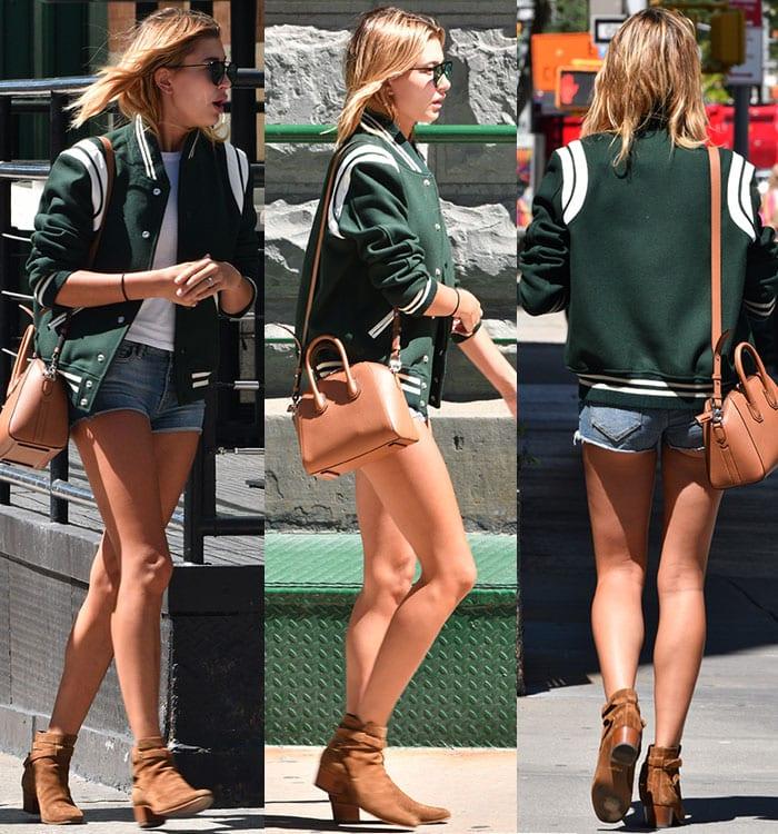 Hailey-Baldwin-legs-denim-shorts-green-jacket