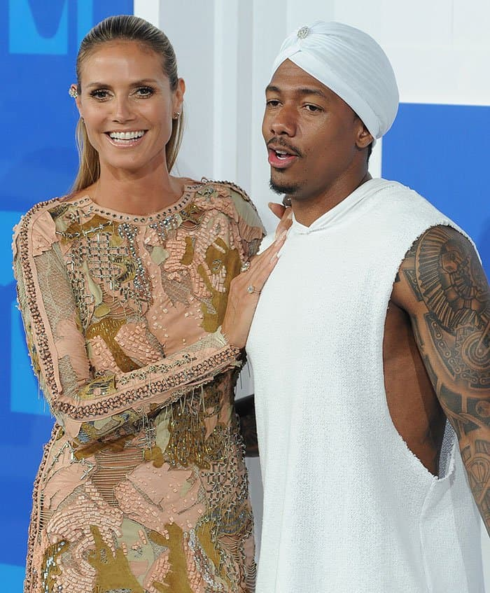Heidi Klum with Nick Cannon at the 2016 MTV Video Music Awards at Madison Square Garden in New York City on August 28, 2016
