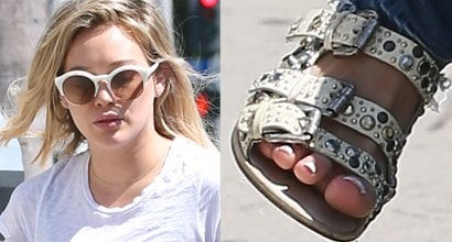 4b5c1d701767 Hilary Duff In Jewel-Encrusted Cork  Collection PRIVÉE   Sandals