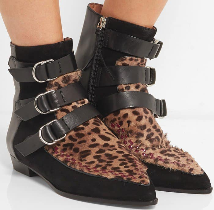 Isabel Marant Rowi leather, suede and leopard-print calf hair boot