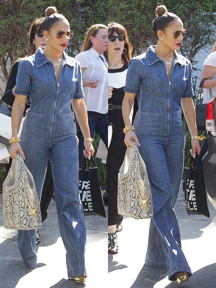 Jennifer Lopez denim jumpsuit Jennifer Klein 2