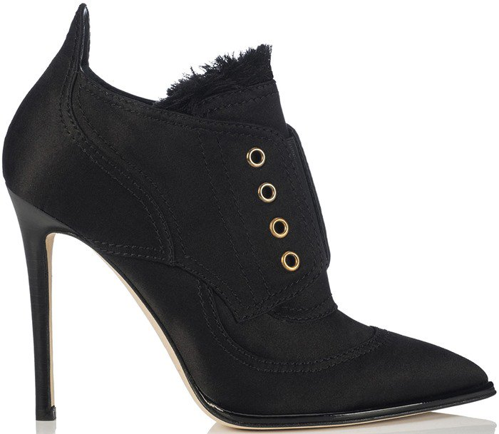 Jimmy Choo Mitsu Black Frayed Satin Mix and Elastic Ankle Booties