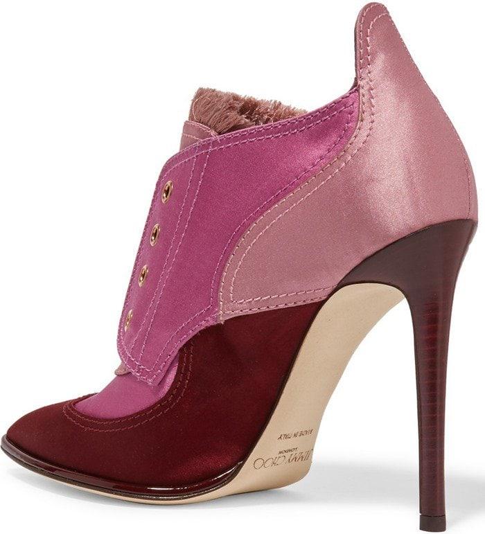 Jimmy Choo Mitsu fringed paneled satin ankle heels