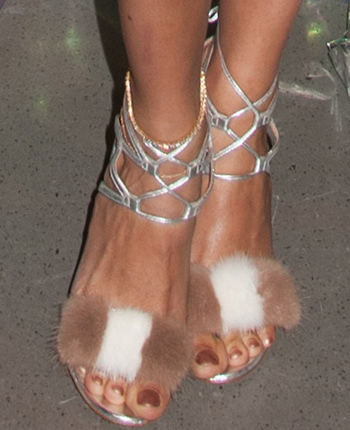 """Joan goes for the playful furry """"Zelda"""" sandals by Gianvito Rossi"""