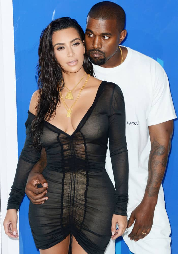 Kim supports husband Kanye as he drops his new video at the 2016 MTV Video Music Awards