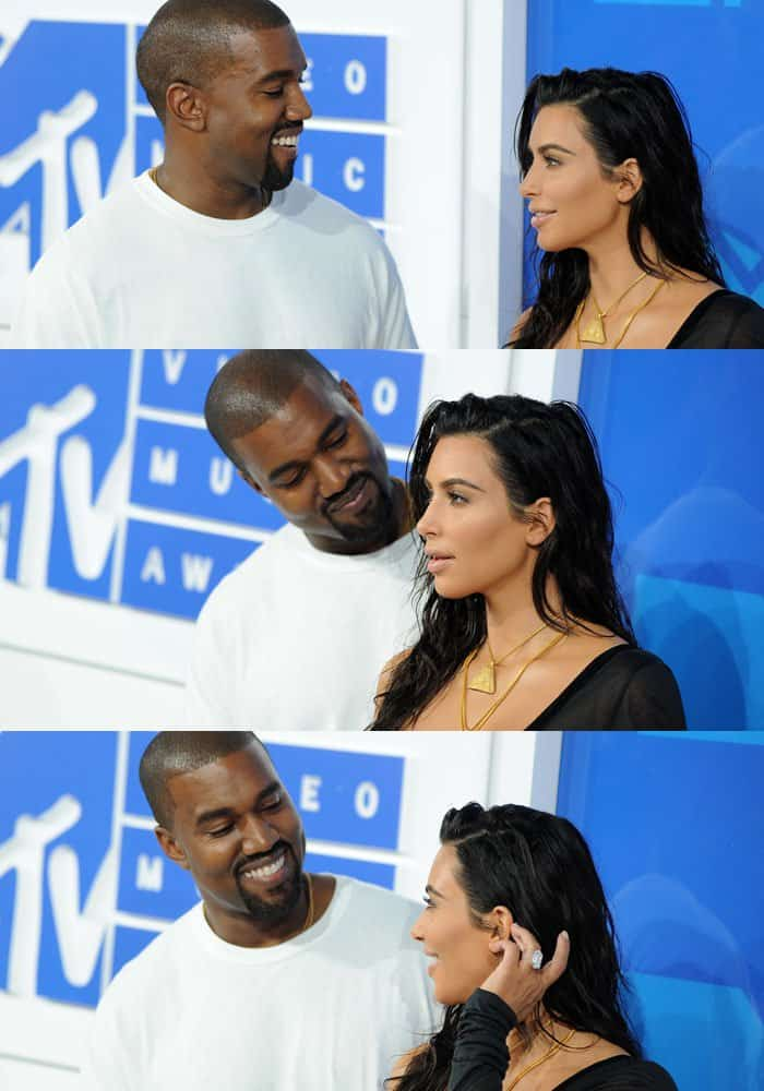 Smitten: Kim's husband Kanye West throws adoring looks at his wife on the red carpet
