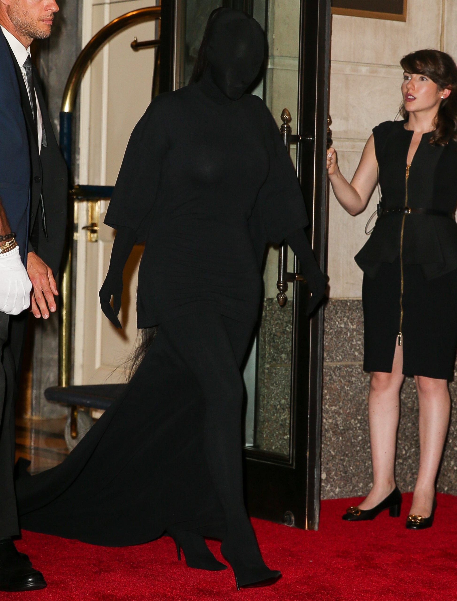Kim Kardashian wears a head to toe Balenciaga ensemble for the Met Gala 2021