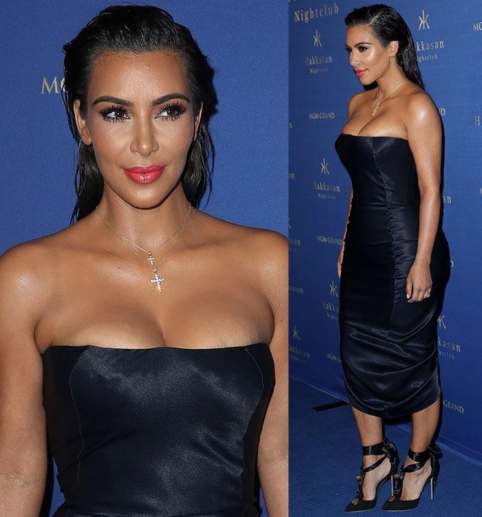 Kim Kardashian'svintage John Galliano midi dress exposed small red spots on her legs
