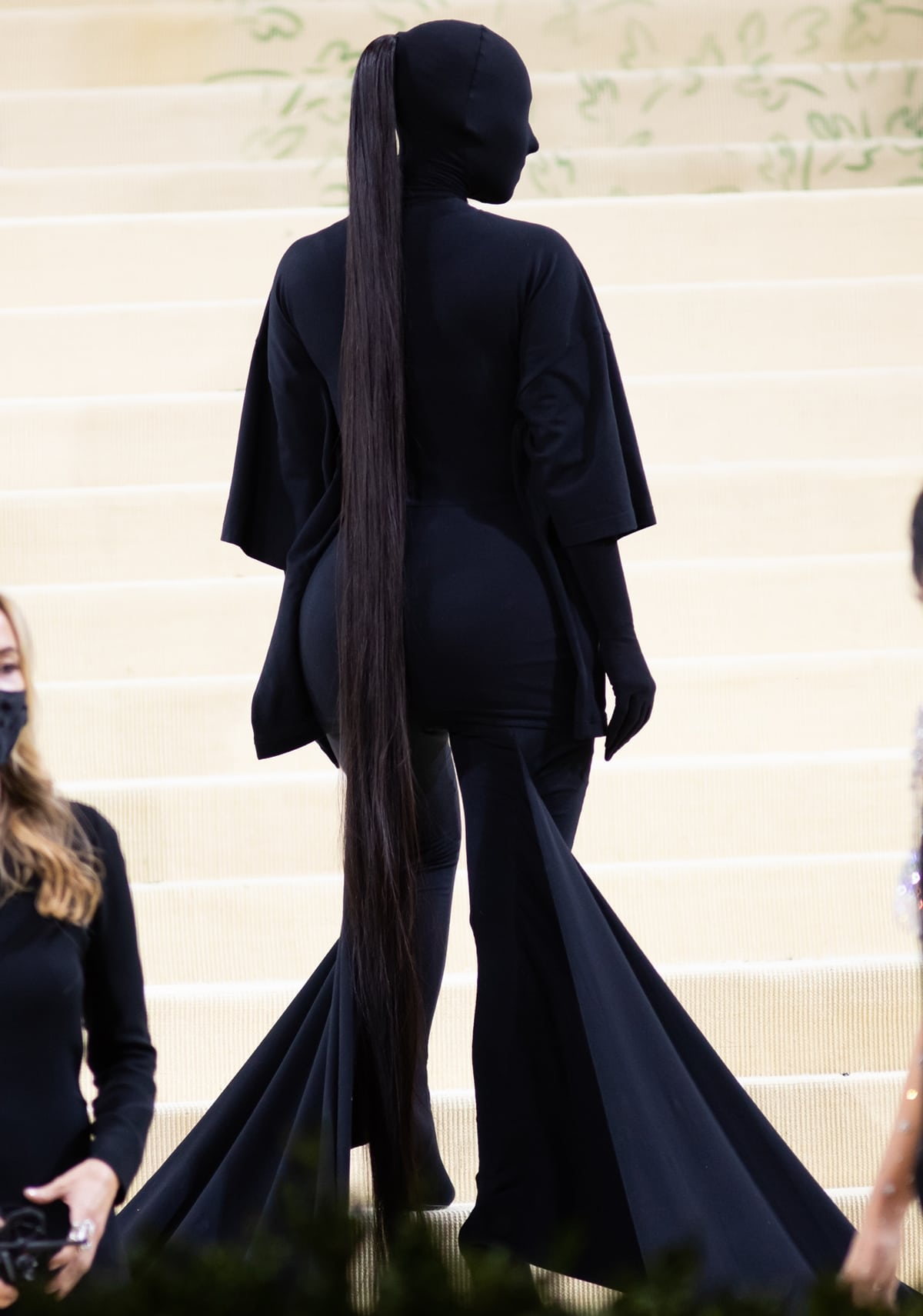 Kim Kardashian covered up completely in black for the Met Gala 2021