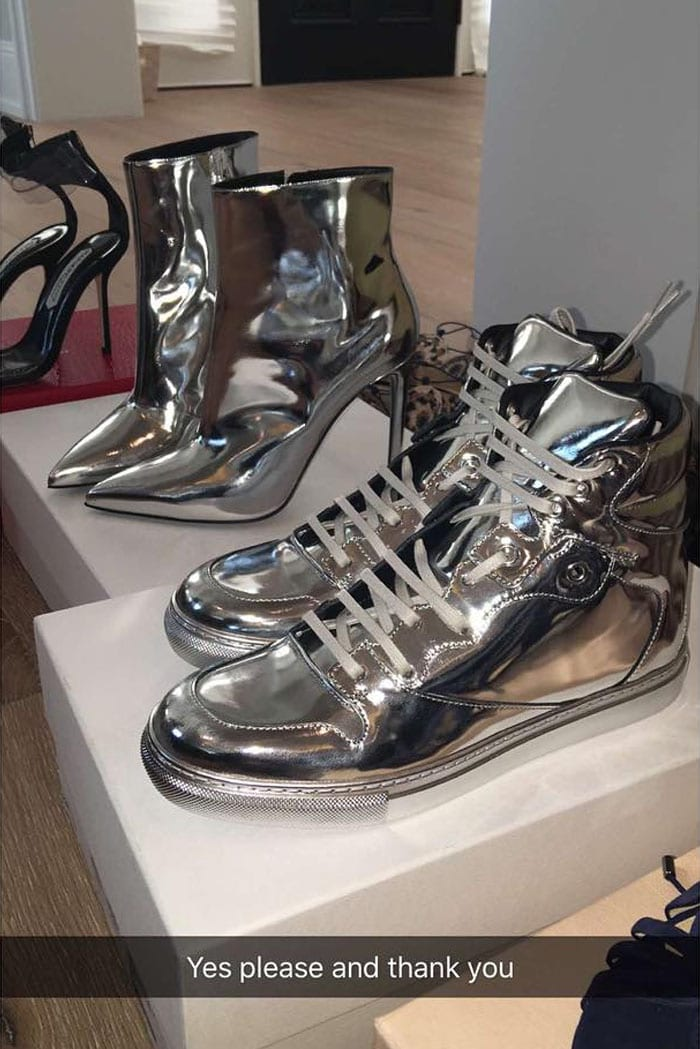 Kylie Jenner silver Balenciaga shoes