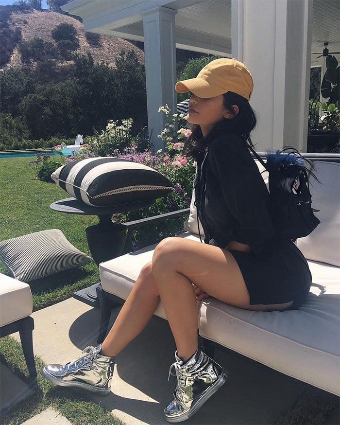 Kylie Jenner silver Balenciaga sneakers