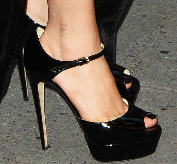 Lady Gaga shows off her feet in Brian Atwood Tribeca heels