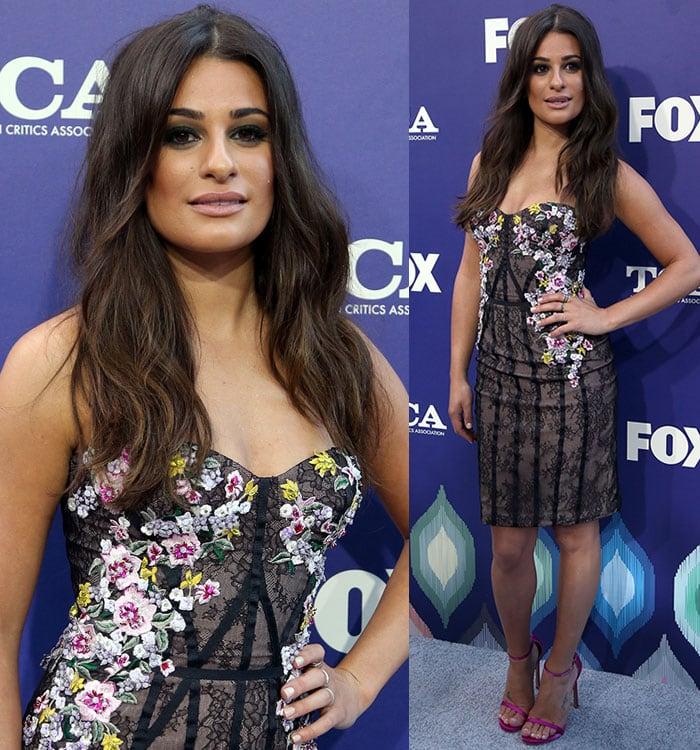 Lea-Michele-Marchesa-strapless-floral-dress