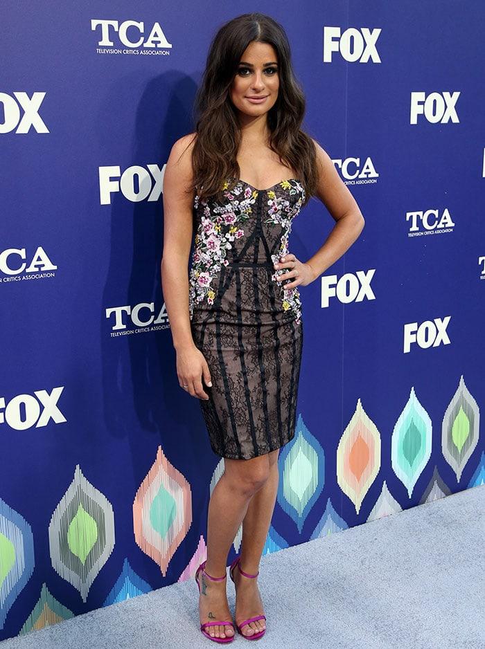 Lea-Michele-curves-Marchesa-floral-dress