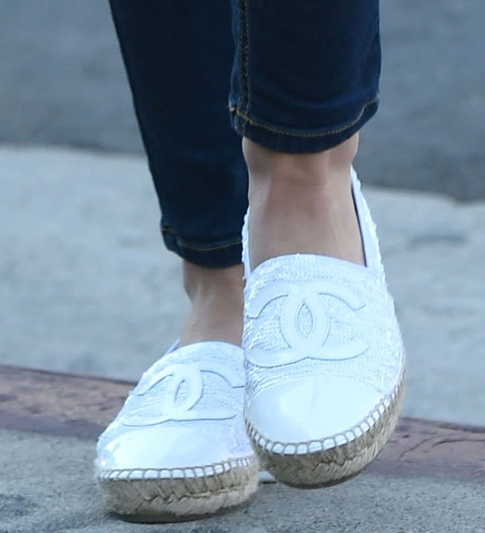 Lucy-Hale-Chanel-sequin-espadrille-loafers