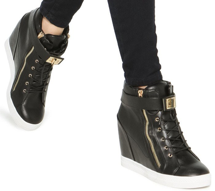 Turnlock Detail Wedge Sneakers in Black and White for $9.99