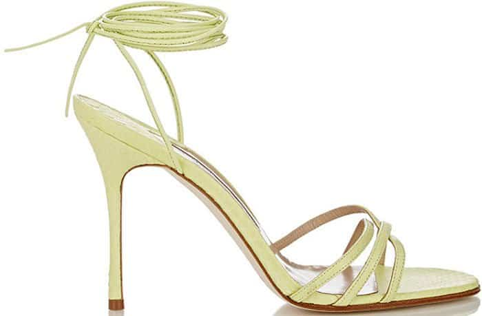 Manolo Blahnik Snakeskin Leva Ankle-Wrap Sandals