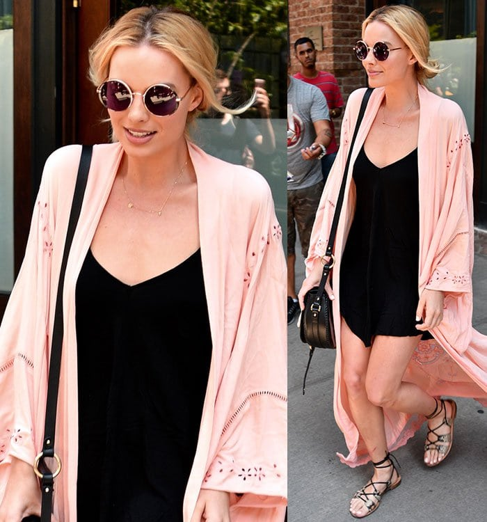 Margot-Robbie-black-slip-dress-pink-kimono-coat