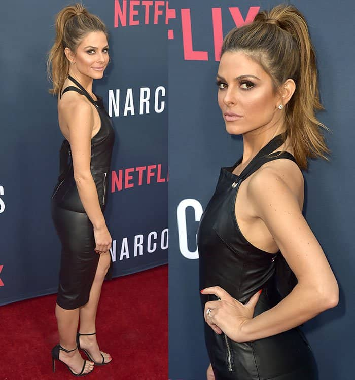 Maria Menounos flaunts her legs in a black leather a Rebecca Vallance apron-style dress
