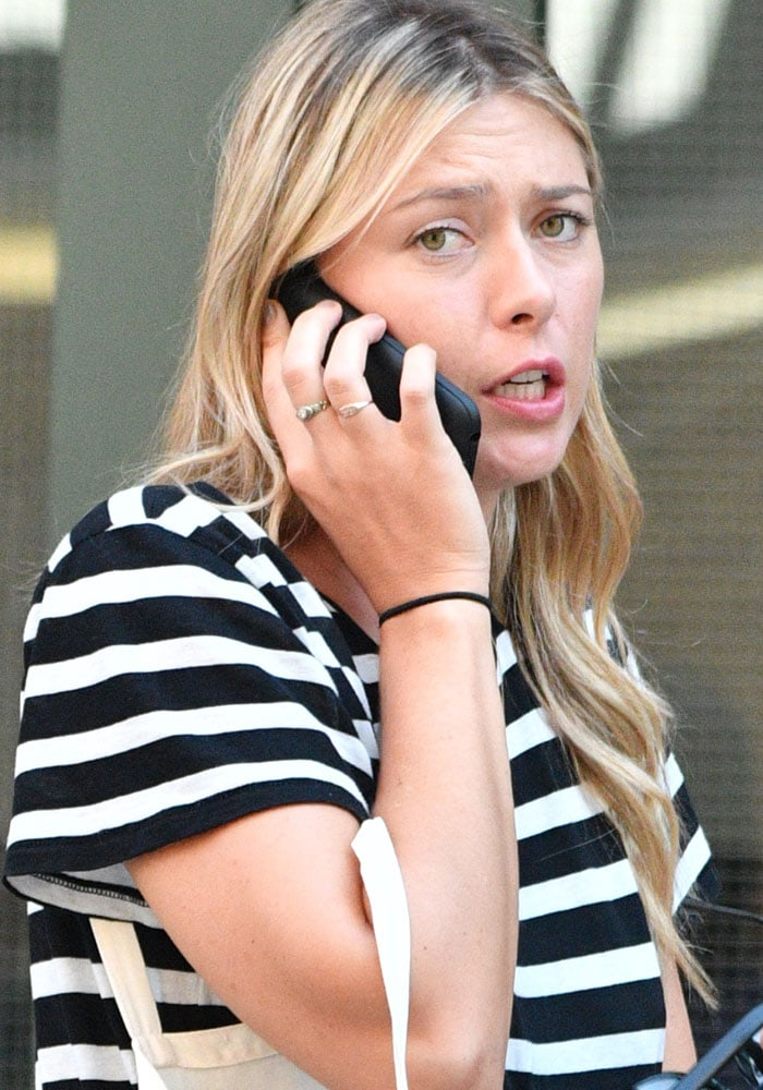 Maria Sharapova on the phone in Tribeca, New York City, on August 12, 2016
