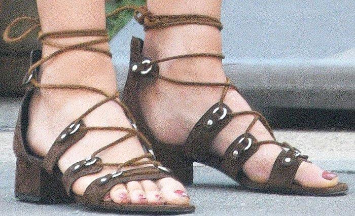 Maria Sharapova showing off her pretty feet inSaint Laurent 'Babies' sandals