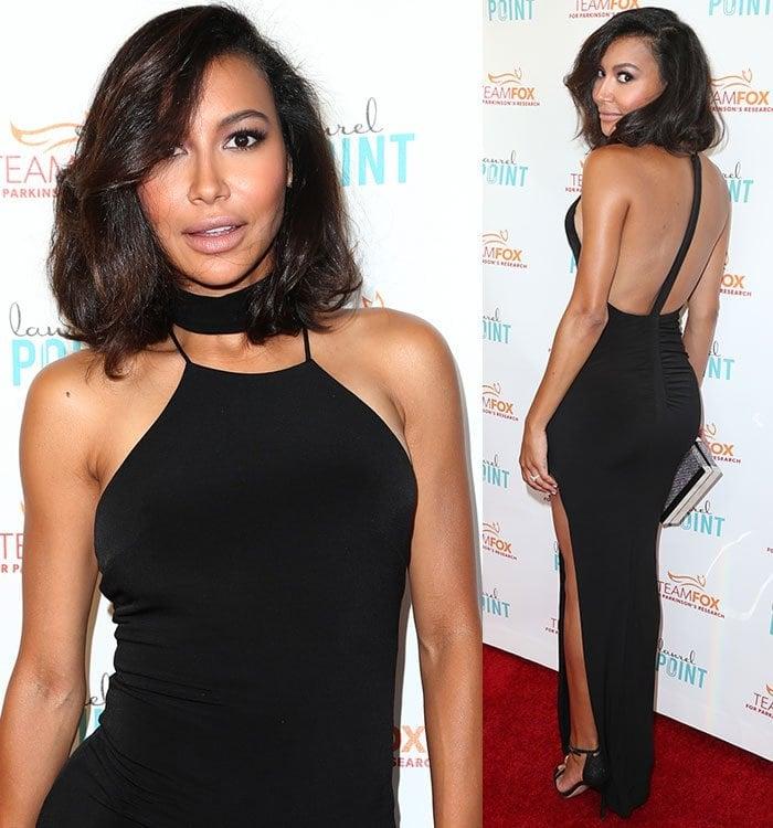 Naya-Rivera-black-dress-thigh-slit-sexy-back