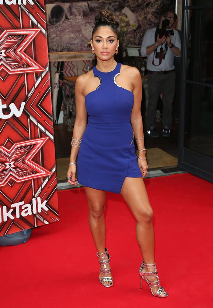 "Nicole Scherzinger in an electric blue David Koma dress at ""The X Factor"" press launch"
