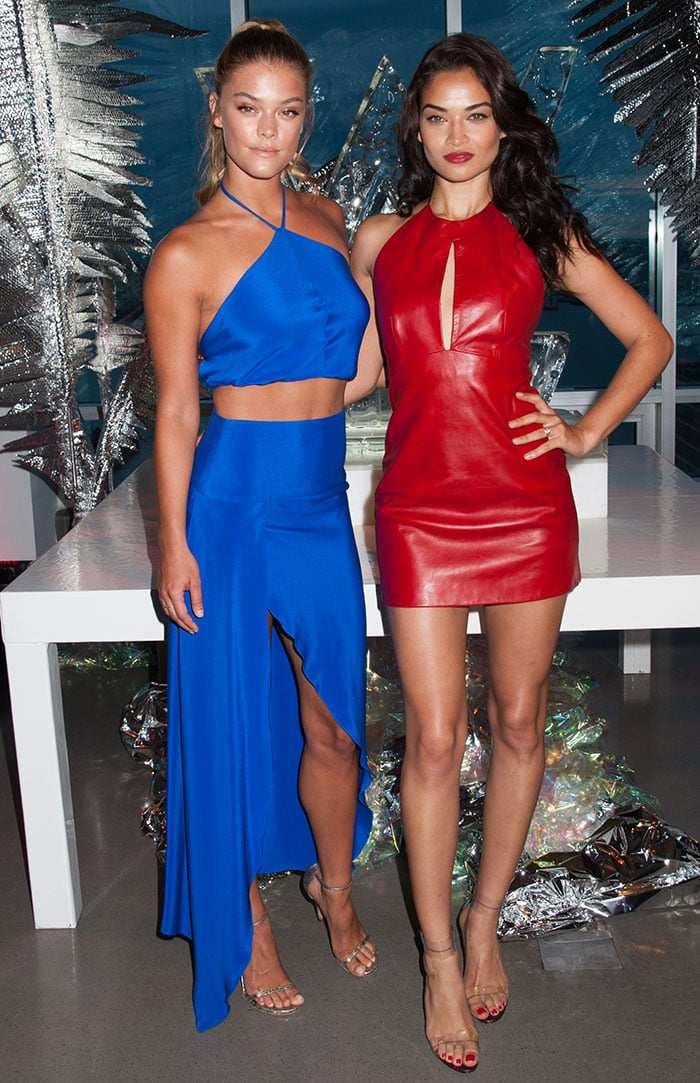 Nina Agdal with Shanina Shaik celebrate the opening of W Dubai in New York City on August 17, 2016