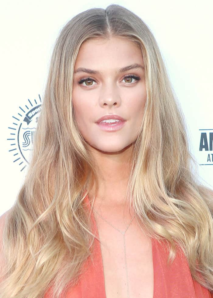 Nina Agdal Flashes Flesh In Orange Gown And Strappy Sandals