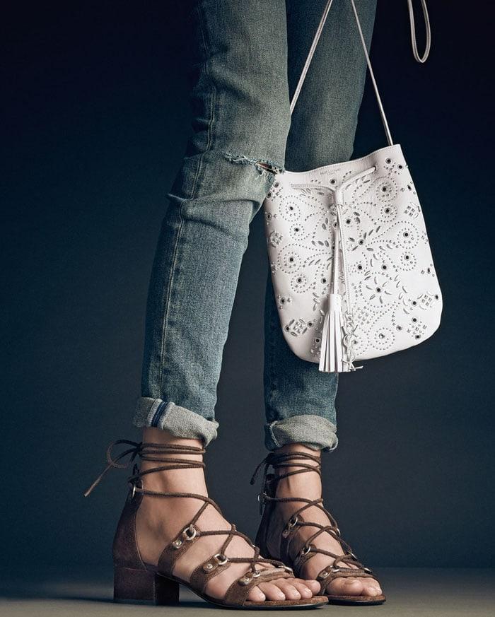 Saint Laurent Babies Brown Gladiator Sandals