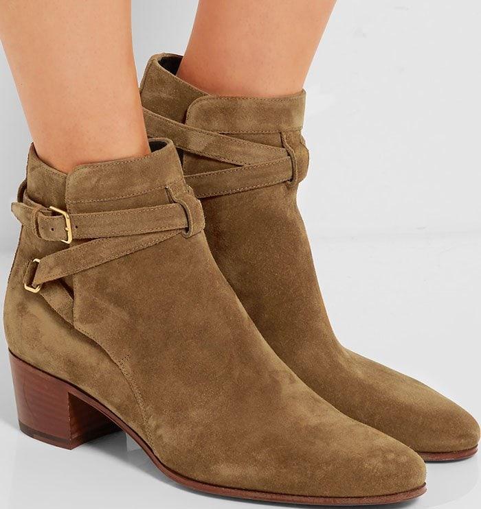 Saint-Laurent-Blake-tan-suede-ankle-boots