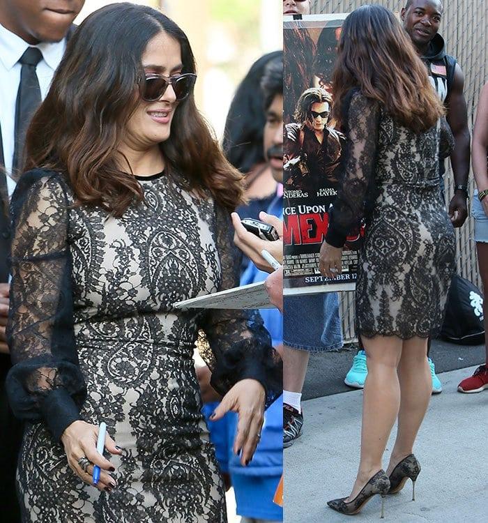 Salma Hayek In Gucci Carolina Wedges And Nicholas