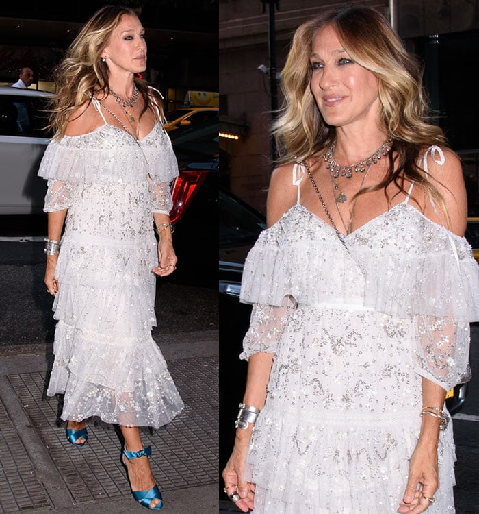 Sarah-Jessica-Parker-white-silver-embellished-tulle-midi-dress