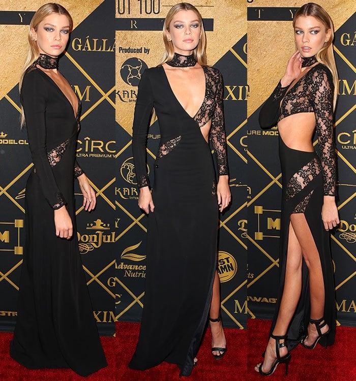 Stella-Maxwell-cleavage-legs-black-lace-cutout-dress