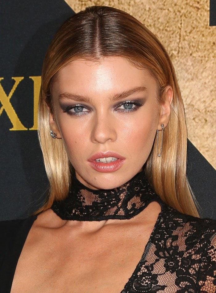 Stella-Maxwell-glittery-eyeshadow-pink-lipstick