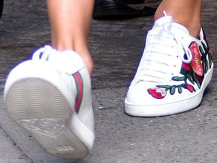 Taylor Swift Gucci Ace floral embroidered sneakers 1