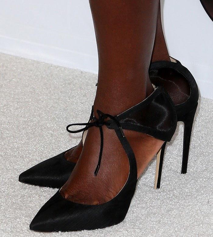 Viola-Davis-tie-front-mesh-insert-pumps