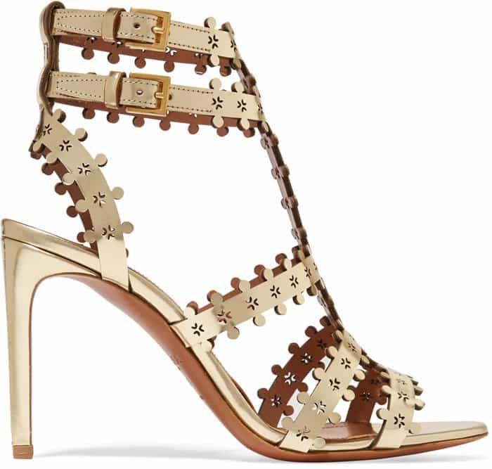 Alaia Metallic laser-cut leather sandal