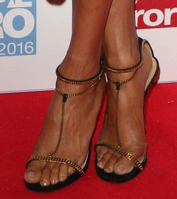 Alesha Dixon shows off her feet in Gucci sandals