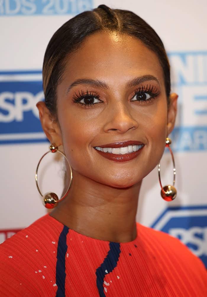 Alesha Dixon shows off herlarge hoop earrings