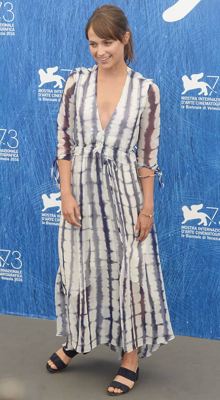 Alicia Vikander in a floaty tie-dye silk dress from Prabal Gurung's Resort 2017 Collection